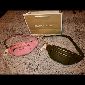 Michael Kors pebbled leather belt bag NWT